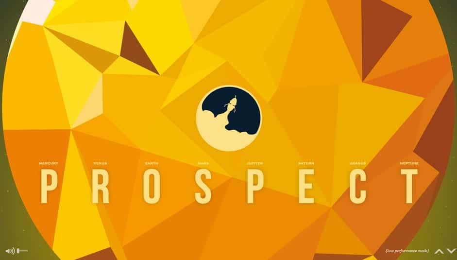 NASA Prospect website example with custom illustrations