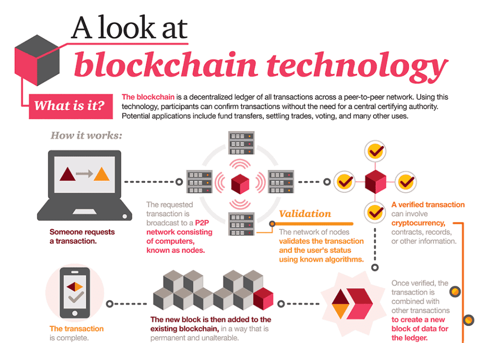 Infographic explaining blockchain systems