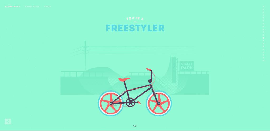 Cyclemon website example of simplistic interactivity