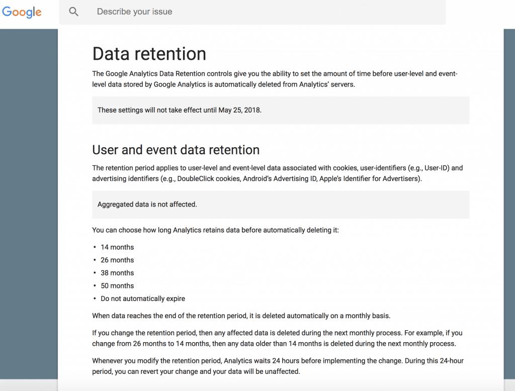 User Data Retention Example