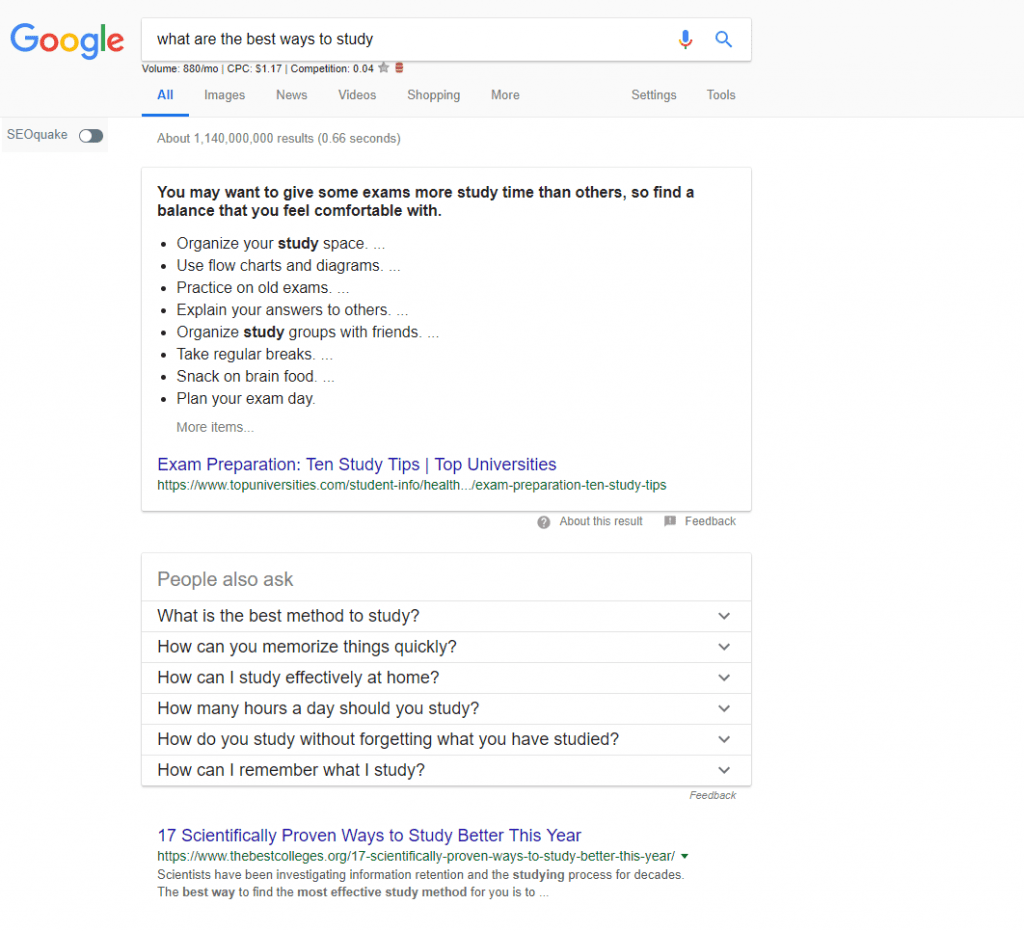 Example of Google's answer box