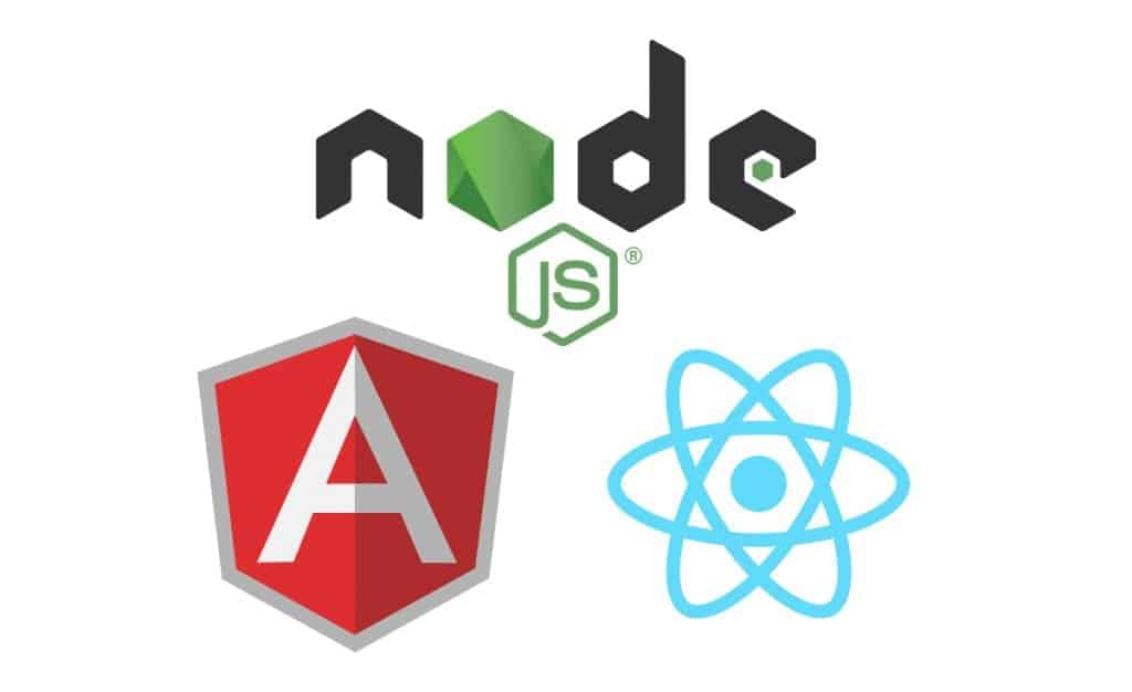 From left to right: Angular, Node JS, and React logos