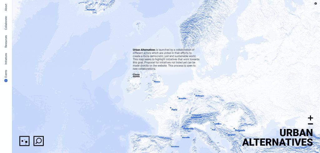 Urban Alternatives website example for finding different economic metrics in europe