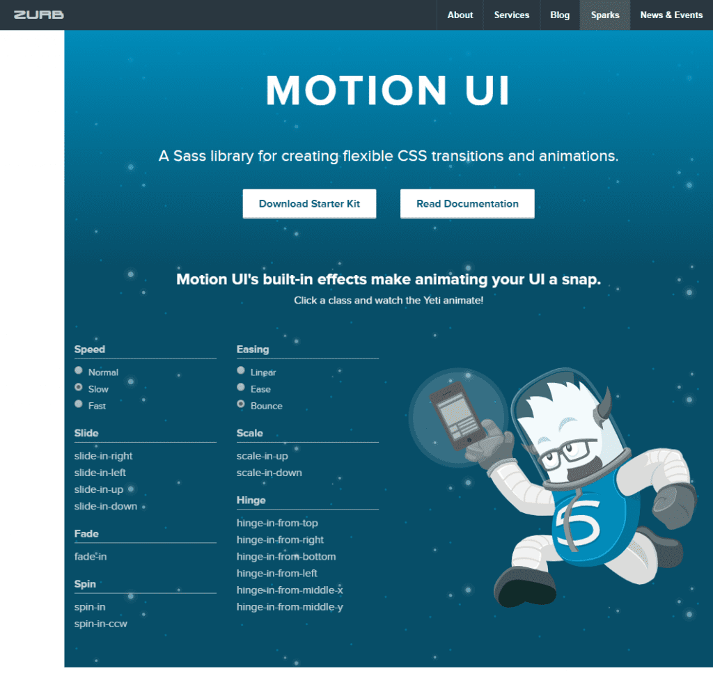 ZURB Motion UI library example