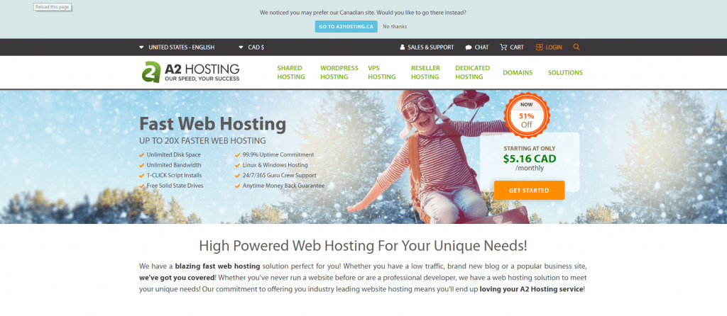 A2hosting shared hosting provider