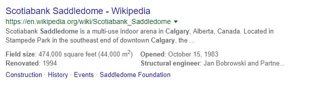 Saddledome example of Schema Markup