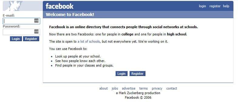 Facebook homepage in 2005-2006