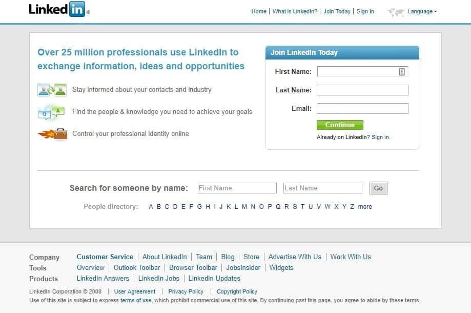 LinkedIn homepage in 2008
