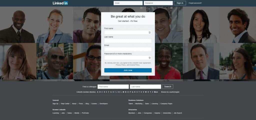 LinkedIn homepage in 2018