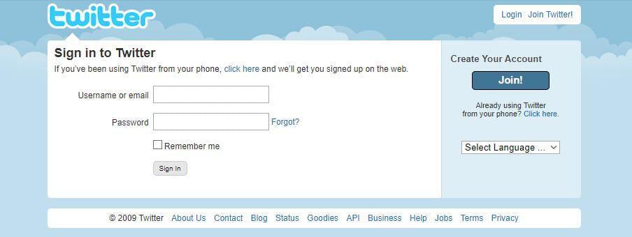 Twitter homepage in 2006