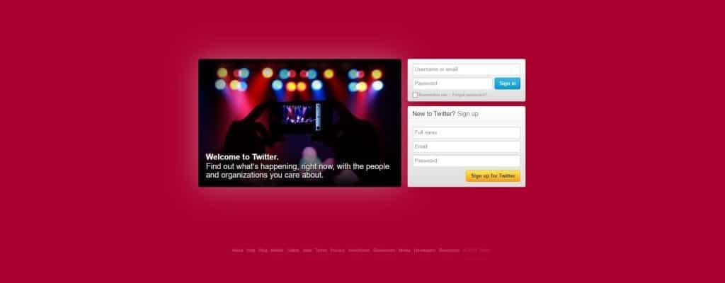 Twitter homepage in 2012