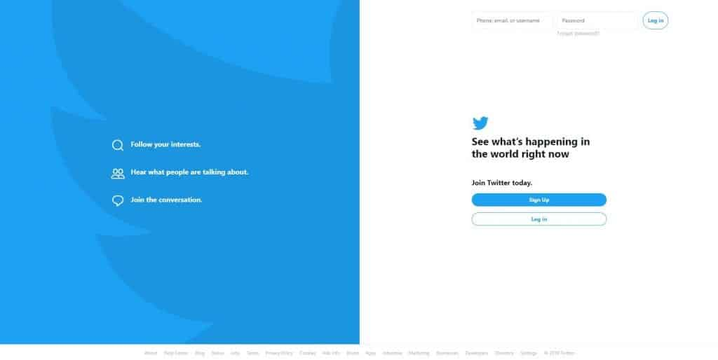 Twitter homepage in 2019