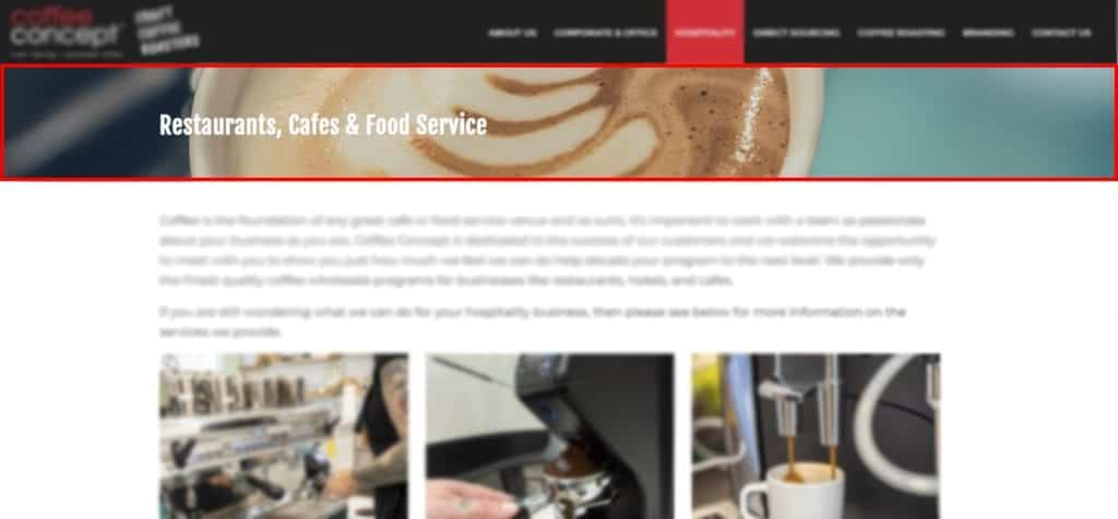 Page header section example