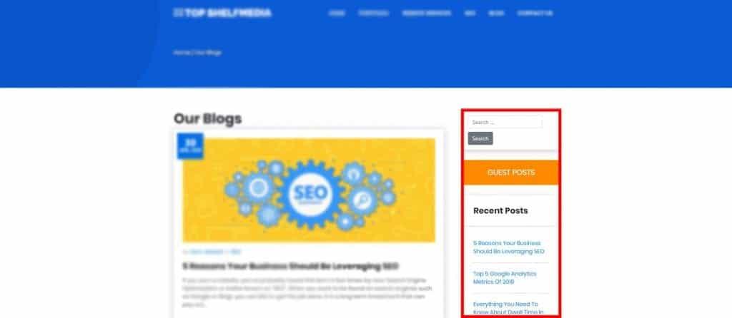 Website sidebar example