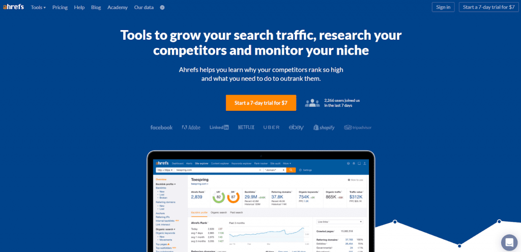 Ahrefs home page example