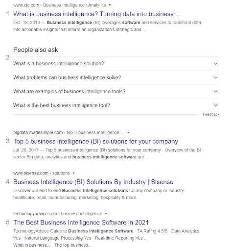business intelligence keyword example
